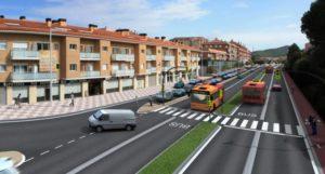 Recreació de com seria un carril bus entre Blanes i Lloret.