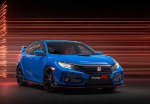 Un Honda Civic Type R blau