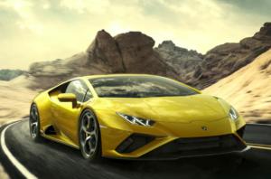 Un Lamborghini Huracán Evo de color groc