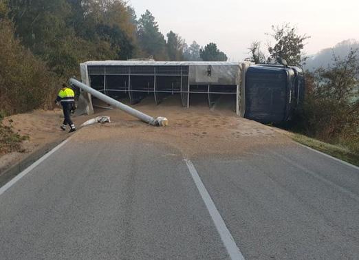 Un camió que transportava pinso va sortir de la via i va bolcar a Massanes